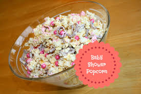 baby shower popcorn with white chocolate balm to my soul