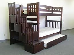 Bunk Bed With Trundle Amazon Com Bedz King Tall Twin Over Twin Stairway Bunk Bed With