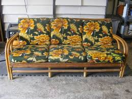 Reupholster Patio Furniture Cushions by Thrift Store Rattan Sofa Makeover Hometalk