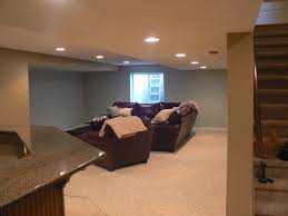 basement recessed lighting and recliner with leather sofa also