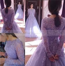 Purple Wedding Dress 2017 Lace Long Sleeves Purple Wedding Dress Boat Neck Appliques