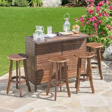 Acacia Wood Outdoor Furniture by Milos Outdoor 3 Piece Acacia Wood Bistro Bar Set By Christopher
