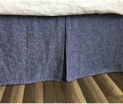 chambray denim linen bed skirt with tailored pleats u2013timeless chambray