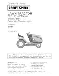 917 287240 craftsman 21 hp 46 inch automatic lawn tractor manual