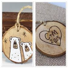 personalized wood slice christmas ornament polar bear ornament