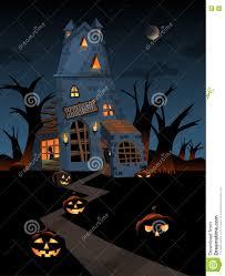 halloween haunted woods haunted castle on halloween night stock vector image 74444999