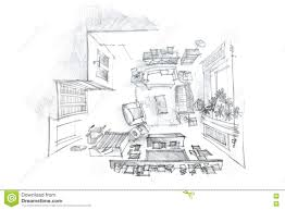 freehand interior sketch living room with furniture view