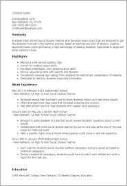 Resume Samples For Teaching by Professional High Social Studies Teacher Templates To