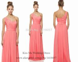 coral peach bridesmaid dresses long wedding party dress one