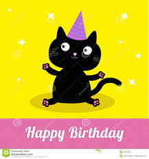 cute cartoon black cat with hat happy birthday party card stock