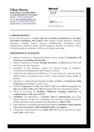 Profile Summary For Oracle Dba Vikasshana Senior Sql Server Dba Msbi Consultant Qlikview Developer