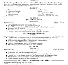Free Nanny Resume Templates Joyous Nanny Resume Template 5 Unforgettable Part Time Examples To