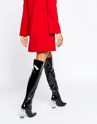 womens boots asos clear heeled black patent the knee boots asos