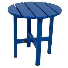 folding outdoor side table polywood 18 in pacific blue round patio side table rst18pb the
