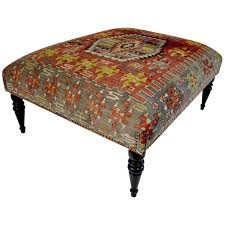 Antique Ottoman Chic Antique 19th Century Kilim Covered Ottoman Bench For Sale At