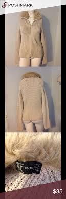 sale zara faux fur collar zip up sweater l thanksgiving
