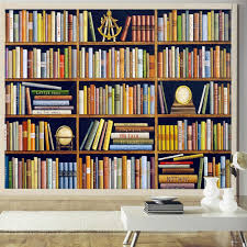 custom wall mural hand painted books retro bookshelves mural study