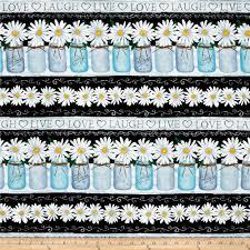 timeless treasures live love laugh daisy stripe black discount