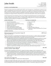 Payroll Resume Template Sample Resume For Supervisor Position A Professional Resume