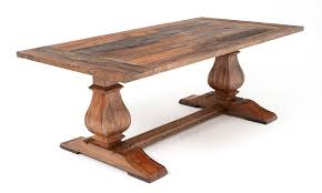 trestle base dining table reclaimed wood is handcrafted into a beautiful tuscan style dining
