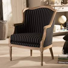 Striped Accent Chair Baxton Studio Charlemagne Traditional French Black And Grey