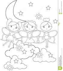 fairies on the sky coloring page stock illustration image 53848731