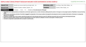 area development manager resume sle