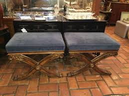 pair of ethan allen french regency x base footstools at 1stdibs