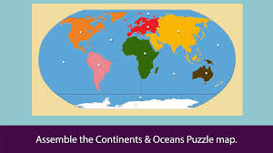 Continents And Oceans Map Montessori Continents U0026 Oceans Android Apps On Google Play