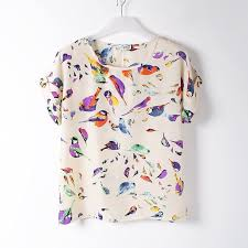 bird blouse 2016 chic sale free shipping colorful birds