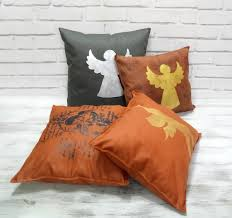 faux leather throw pillows fast shipping gold angel terracotta brown u0026 10 color optional