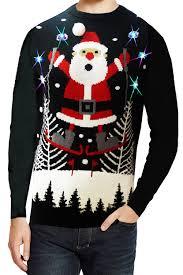 seasons greetings adults skiing santa light up christmas jumper