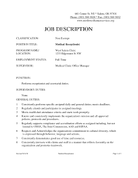 Resume Templates For Receptionist Receptionist Duties For Resume