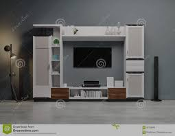 contemporary style home audio system with tv and shelves in the