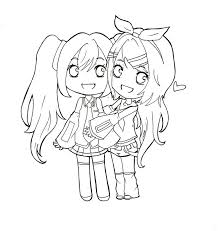 miku and rin chibi lineart by makii chi on deviantart