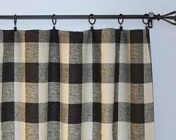 Black Check Curtains Check Curtains Etsy