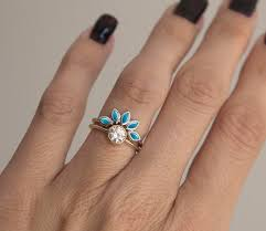 Turquoise Wedding Rings by Turquoise And Diamond Engagement Ring Set Turquoise By Minimalvs