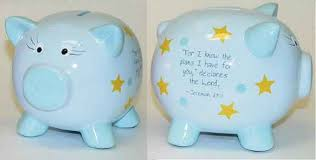 engraved piggy banks piggy bank christian inspirational boy blue