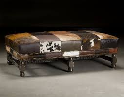 Hide Ottoman Cow Hide Leather Patches Ottoman Aardvark Home Decor