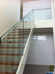 Glass Stair Banister Glass Balustrade For Stairs With Side Mount Stainless Steel