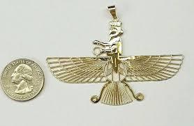 mazda made in usa 18k gold farvahar ahura mazda zoroastrian persian achaemenian