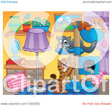 Livingroom Cartoon Clipart Of A Cartoon Living Room Interior With Cats Playing And