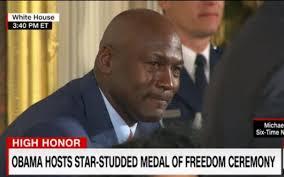 Michael Jordan Crying Meme - obama shouts out to crying jordan meme in front of crying michael