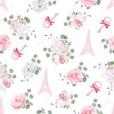 eiffel tower wrapping paper seamless print white and pink pattern with eiffel