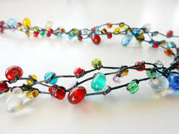 colored bead necklace images Colorful glass beads wax string necklace handm discovered jpg