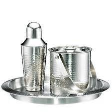 barware sets amazon com cambridge barware 3 piece bar set hammered stainless