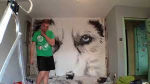 time lapse airbrush mural wolf painting youtube