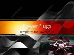 Maroon And White Flag Powerpoint Template Front View Of Maroon Race Car With Black And