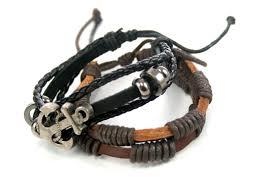 anchor bracelet black leather images Streetsoul anchor bracelet black leather metal wrist band for men jpg