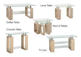 seconique milan sonoma oak effect veneer clear glass silver tables